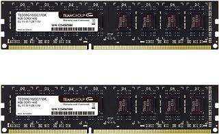 TEAMGROUP Elite DDR3 16GB Kit (2 x 8GB) 1600MHz (PC3-12800) CL11 Unbuffered Non-ECC 1.5V UDIMM...