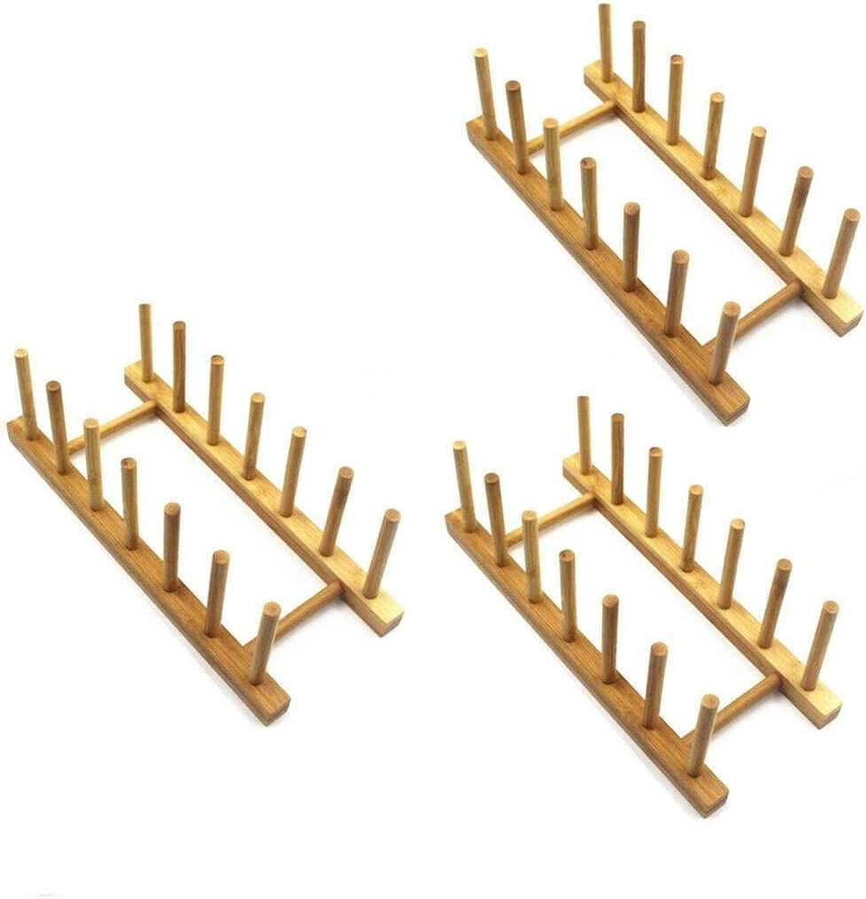 Bamboo Wooden Dish Rack Plate Max 63% OFF Lid Pot Shipping included Kitche Holder Stand