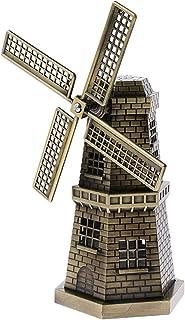 Perfk Copper Metal Dutch Windmill Model Statue Figurine Craft for Bookshelf Decor - Bronzer, as described