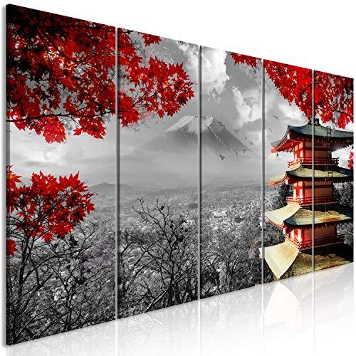 murando Cuadro acústico Japon 200x80 cm decoración de Pared Lienzo sintético 1 Pieza Cuadros XXL Panel de Pared silencioPaisaje Blanco Negro Rojo c-C-0240-b-m