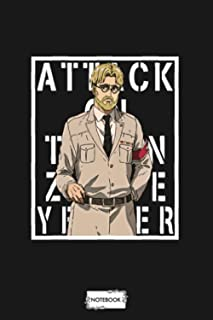 Attack On Titan Zeke Yeager Background Text(white) Notebook: Lined College Ruled Paper, 6x9 120 Pages, Diary, Matte Finish...