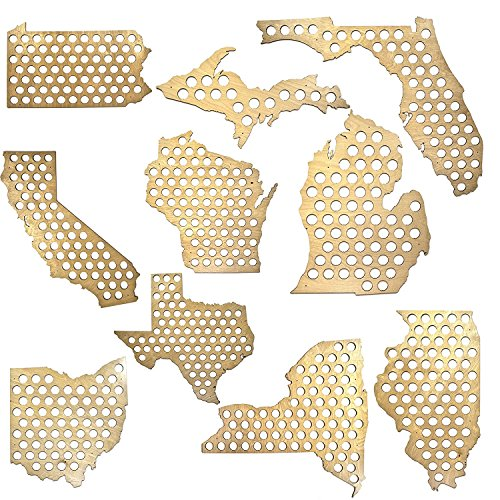 All 50 States Beer Cap Maps - Michigan Beer Cap Map MI - Glossy Wood - Skyline Workshop - Great Father's Day gift!