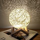 Romantic Night Light Creative INS Wind Starry Table lamp Bedroom Bedside lamp Fantasy Rattan Ball Moon Light (Light Yellow, Button Switch)