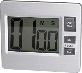 Digital Timer, Desk/Wall, 3-3/8quot;x3/4quot;x3quot, Silver/Black, Sold as 1 Each