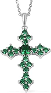 Womens Cubic Zirconia CZ Stainless Steel Cross Chain Pendant Necklace 20