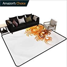 Floral Animals Door Mats Outdoors, Ornaments Flowers Waves Pattern Artistic Curvy Leaves Swirls Graphic Design Easy Maintenance Area Rug Living Room Bedroom Carpet, (3'x 8') Orange Yellow Cream