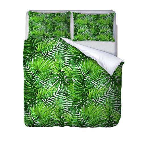 HLLIZ Single Duvet Cover Set, Green leaves Printed Quilt Bedding Set 2Pcs With Zipper Closure In Polyester, 1 Quilt Cover With 1 Pillowcases,140 cm W X 200 cm H