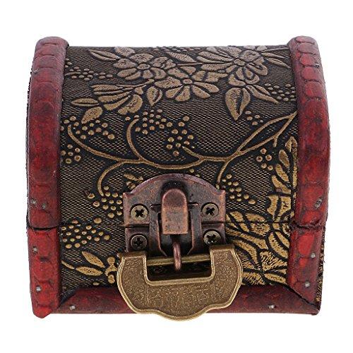 H HILABEE Caja de Almacenamiento de Joyas Caja de Organizador de Madera con Cerradura de Metal Contenedor Retro Antiguo