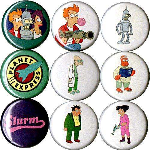 Set of 9 Futurama 1' pins/buttons/badges