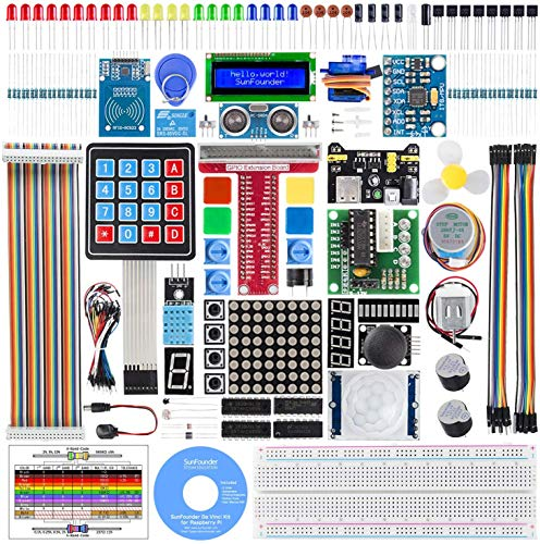 SUNFOUNDER Raspberry Pi Starter Kit for Raspberry Pi 4B 3 B+ 331 Pages Detailed Tutorials Support Python C 210 Items 40 Projects Included Raspberry Pi Accessories to Learn Electronics And Programming