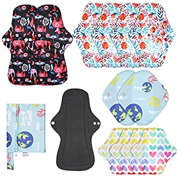 Rovtop Reusable Menstrual Pads 12Pcs Sanitary Pads for Women Period Pads Washable with PUL Wet Bag,4 Size Include XL/L/M/S for Day/Night Use Heavy Flow