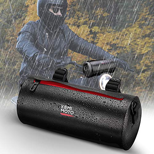 Kemimoto Motorcycle Handlebar Bag Water Resistant with Shoulder Strap, Motorcycle Barrel Bag Roll Tool Bag Compatibel with Compatible with Kawasaki Honda Yamaha Harley KTM Suzuki BMW Ducati