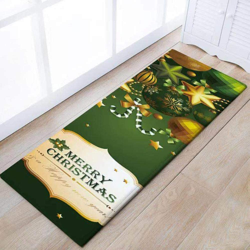 Eanpet Merry Christmas Rug Thin Runner Rug Doormat Xmas Home Decor Pet Feeding Mat Pad Floor Carpet,Gold Christmas Ball