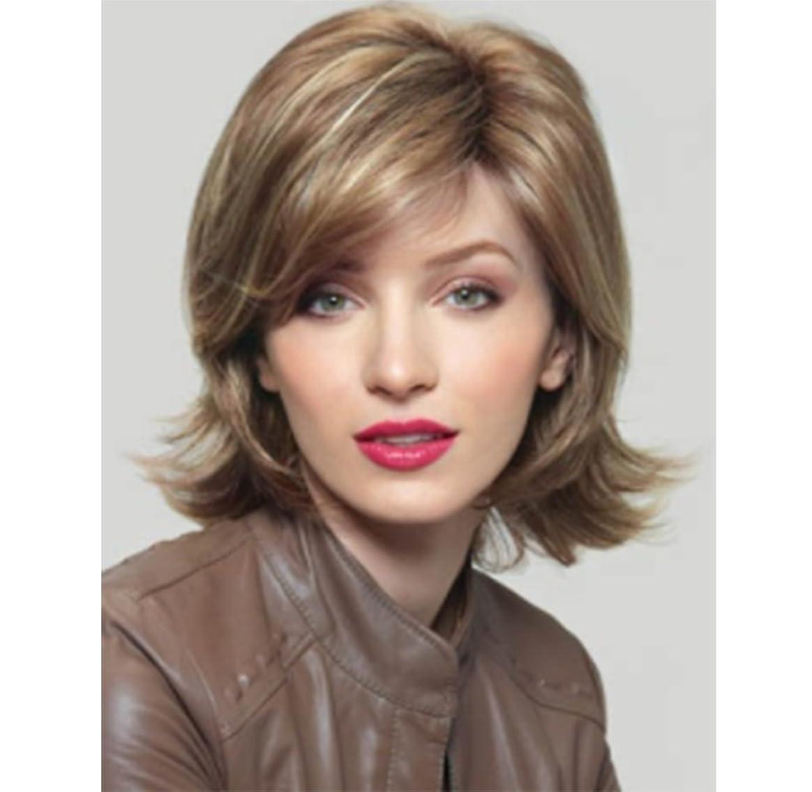 ブランデーサバント寛容なかつら短毛ブラウン女性ふわふわの化学繊維高温シルクヘアピース
