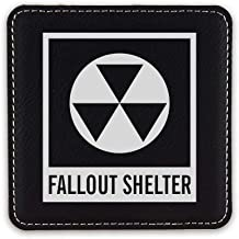 Fallout Shelter Symbol Drink Coaster Leatherette Coasters Nuclear Radiation - Black Silver - Set of Six Coasters