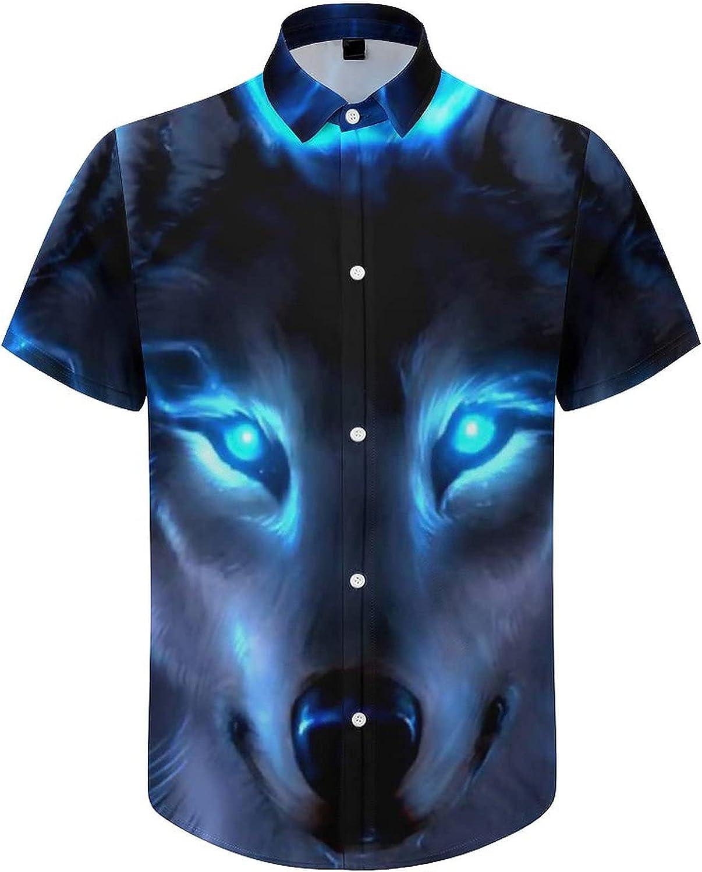 Mens Button Down Shirt Blue Fire Wolf Casual Summer Beach Shirts Tops
