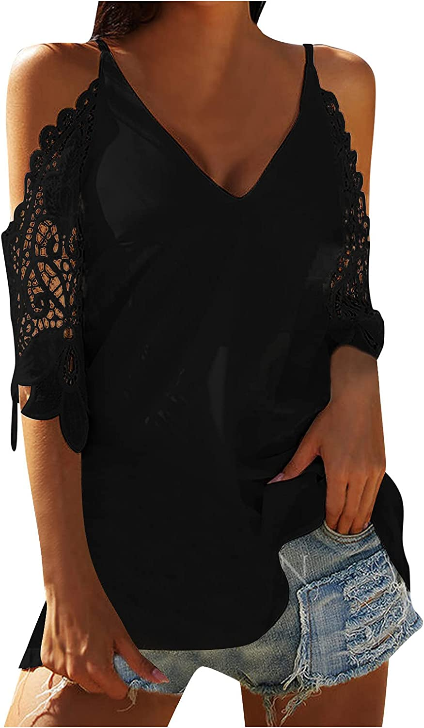 ORT Womens Summer Tops Sexy Off Shoulder Front Knot Ruffled Blouses Casual 3/4 Sleeve Floral Regular Pullovers