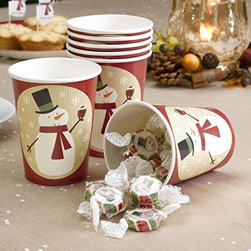 Premium Weddings Pappbecher Weihnachten Schneemann 8 Stück - Advent Becher Weihnachtsfeier Deko Pappbecher Schneemann