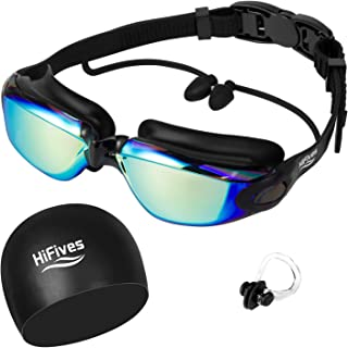 HiFives Swimming Goggles and Ear Plugs, 4 in 1 Swim Goggles, Swimming Cap, Nose Clip, Case, No Leaking Anti Fog UV Protection, for Adult Men Women Youth Kids Child, Multi-Choice