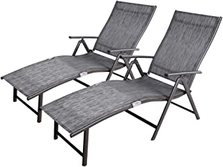 Crestlive Products Aluminum Beach Yard Pool Folding Recliner Adjustable Chaise Lounge Chair All Weather for Outdoor Indoor, Brown Frame (2 PCS Black & Gray)