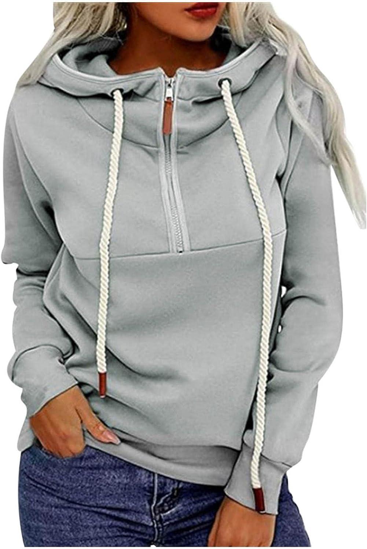 Zip up Hoodie Women Autumn Lightweight Crewneck Pullover Tops Solid Loose Sweatshirt Comfy Long Sleeve Blouse