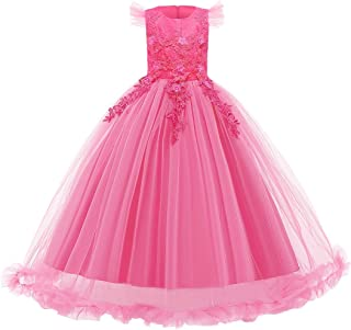 Girls Embroidery Flower Lace Long A Line Pageant Dress Floor Length Princess Prom Tulle Maxi Gown for Wedding Party Birthday