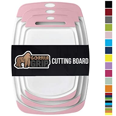 GORILLA GRIP Original Oversized Cutting Board, 3 Piece, BPA Free, Juice Grooves, Larger Thicker Boards, Easy Grip Handle, Dishwasher Safe, Non Porous, Extra Large, Kitchen, Set of 3, White Pink