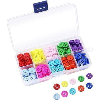 Wowot - 750 botones de resina de colores mezclados, con caja de almacenamiento de plástico para manualidades de costura: Amazon.es: Hogar