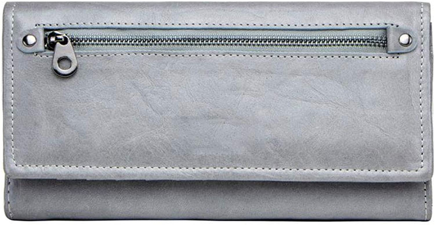 Women's Wallet MultiFunction Long Section Leather Women's Clutch (color   Silver)