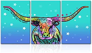 LoveHouse 3 Pieces Abstract Bull Wall Art Prints Bull with Long Horn Teal Green Background Highland Farm Animal Canvas Painting Colorful Cattle Farmhouse Decor Stretched 16x24inchx3pcs