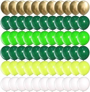 Mayen 60 Pcs 12 Inch Green Gold White Balloons Set, Metallic Gold and Assorted Green Balloons for Jungle Safari Theme Part...