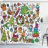 ABAKUHAUS Weihnachten Duschvorhang, Neujahr Süßigkeiten, Moderner Digitaldruck mit 12 Haken auf Stoff Wasser & Bakterie Resistent, 175 x 220 cm, Multicolor
