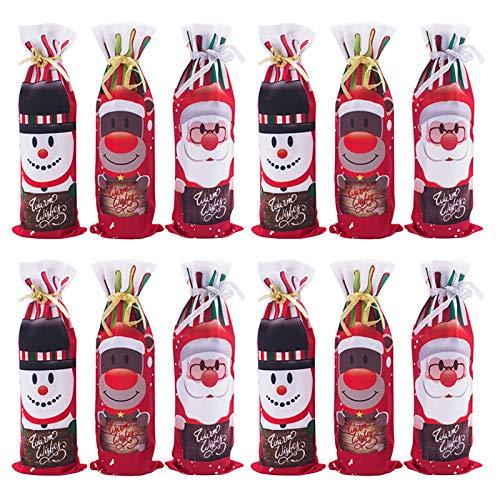 Hengqiyuan 6PCS Weihnachtswein-Flaschen-Beutel Weihnachtsdekoration Weinflasche Abdeckung Kordelzug Dekor Aschen Flaschen-Hüllen Für Tischdekorationen,Rot