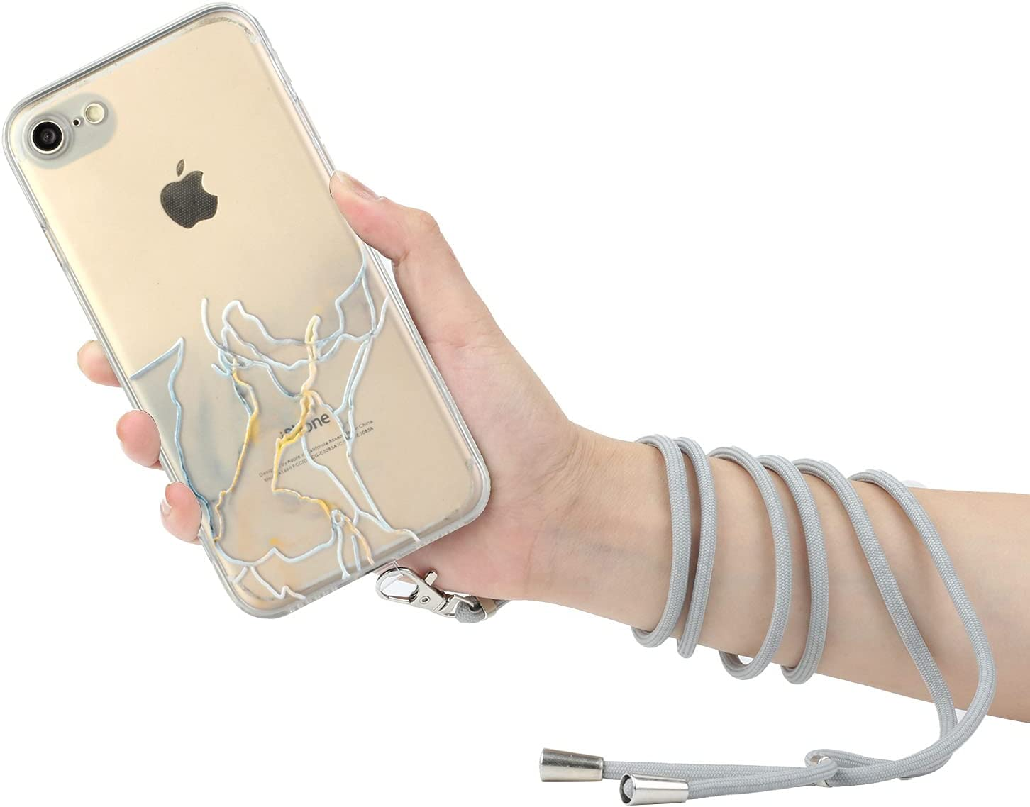iPhone 6 Lanyard Case iPhone 6S Crossbody Case, KASOS Marble Design Flexible Clear Cover with Neck Cord Strap Transparent Silicone Adjustable Necklace Rope Case (Gray)
