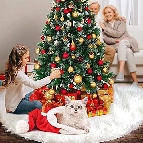 Flysee Falda del árbol de Navidad Blanco Christmas Tree Skirt Base de árbol de Navidad para la Decoración de la Fiesta de Navidad (Blanco, 31inch/78cm)