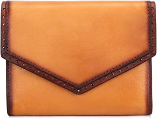 IVTG Genuine Leather Trifold Wallets for Women Vintage Handmade Small Purse (Brown)