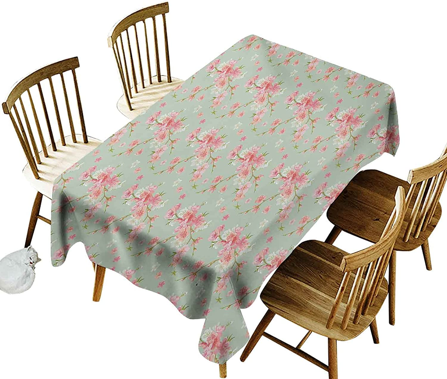 Iuvolux Rectangle Table Cloth, Retro Spring Blossom Flowers with French Garden Florets Garland Artisan Image, Oil-Proof,Stain Proof, (Oblong 60 x 84 Inch) for Spring/Summer/Party/Picnic