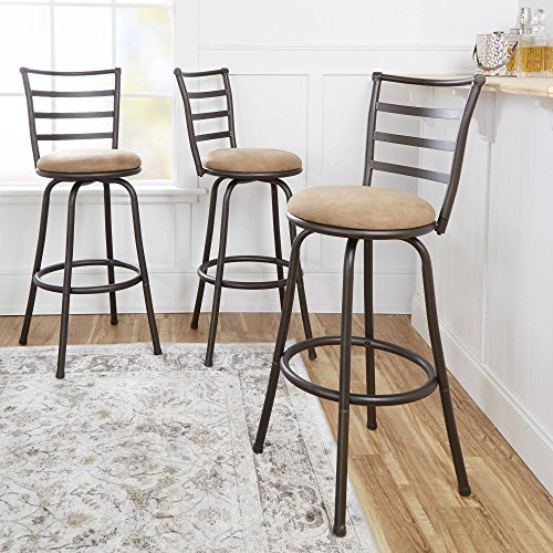 by Mainstay Mainstays Adjustable-Height Swivel Barstool, Hammered Bronze Finish, Set of 3 - Brown (Tan)