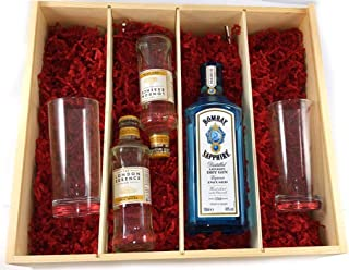 Bombay Sapphire Distilled London Dry Gin 70cls with London Essence Indian Tonic Water and Two Gin Glasses in a Deluxe Gift Box in einer Geschenkbox, da zu 4 Weinaccessoires