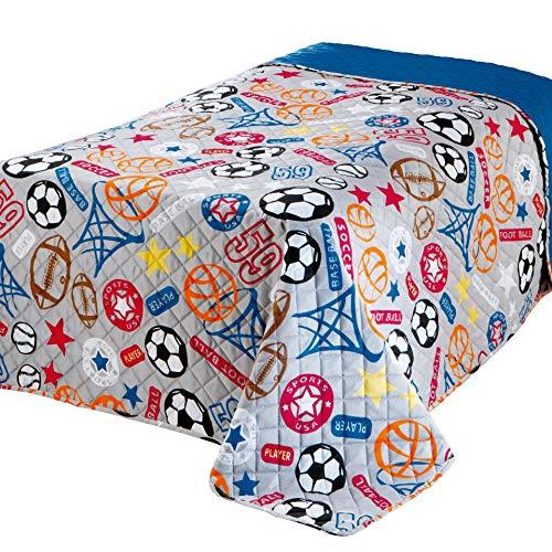 Delindo Lifestyle® Kinderzimmer Tagesdecke Bettüberwurf Sports, für Kinder Einzelbett, für Mädchen & Jungen, 170x210 cm