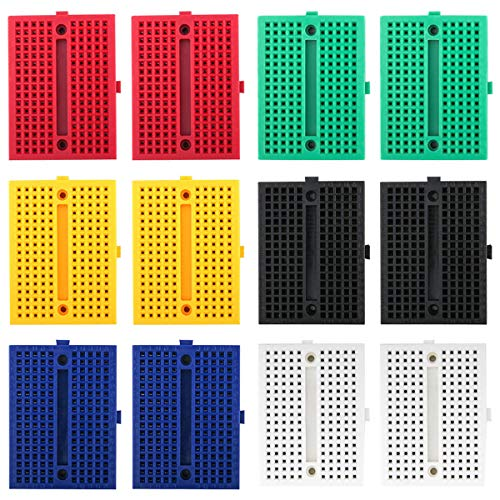 Electrely 12 Stück 170 Tie Points Mini Breadboard Kit, Lötfreie Steckbrett für Arduino Proto Shield (6 Farben - Blau + Schwarz + Rot + Grün + Gelb + Weiß)