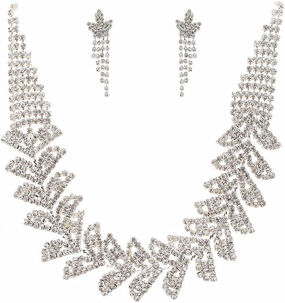 Accessoriesforever Women Bridal Wedding Set Crystal Jewelry Over item Bombing free shipping handling Rhin