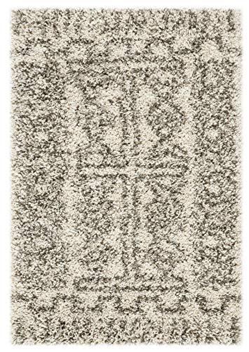 Safavieh Hudson Shag Collection SGH376A Alfombra marroquí de 5 cm de grosor, 2 pies x 3 pies, marfil/gris