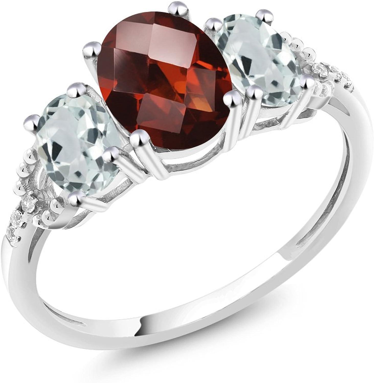 10K White gold Diamond Accent ThreeStone Engagement Ring set with 2.31 Ct Checkerboard Red Garnet & Sky bluee Aquamarine