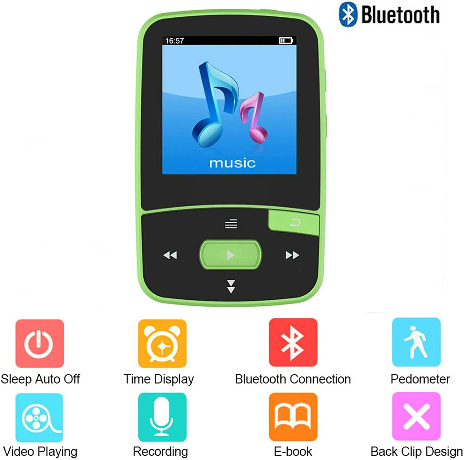 MP3 Player 8GB blueeetooth 4.0 1.5in HiFi Lossless Sport Player Portable with Time Display FM Radio Recording EBook Time Calendar Radio and Headphones