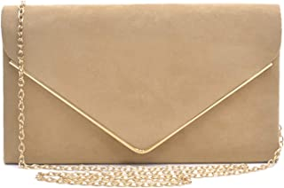 Womens Laser Cut Wrist Clutch Bag Chain Plain Zipped Purse Top Zipped Party Prom