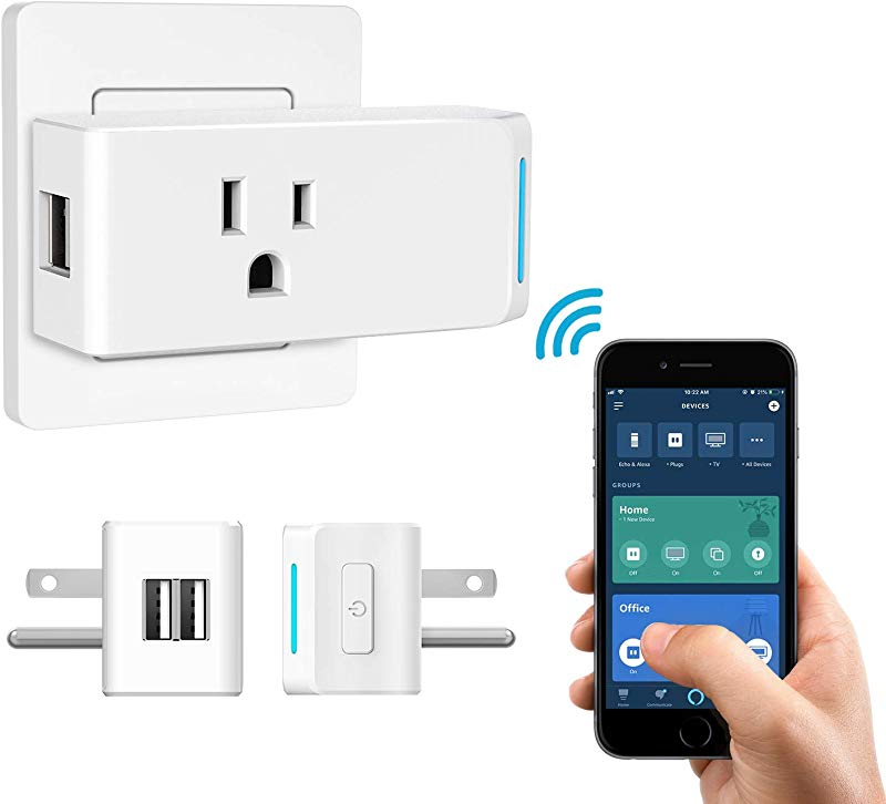 MoKo WiFi Smart Plug Smart Plug With 2 USB Ports Smart Outlet Compatible With Alexa Echo Google Home IFTTT For Voice Control APP Remote Control With Timer Function No Hub Required White