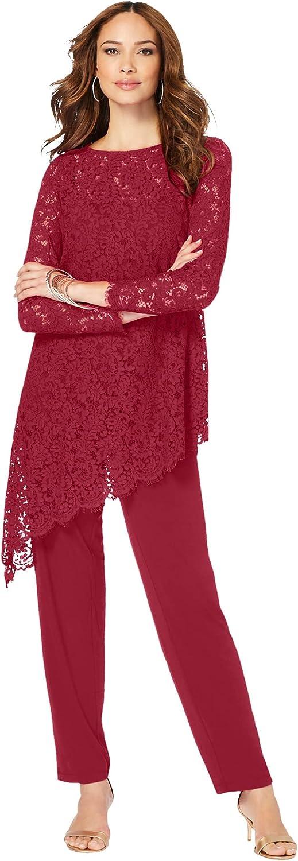 Roamans Women's Plus Size Lace Asymmetric Tunic & Pant Set Formal Evening
