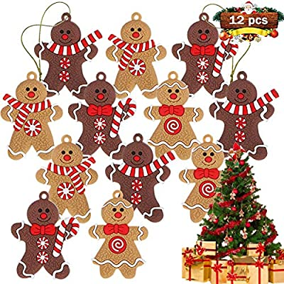Gingerbread Man Ornaments for Christmas Tree, Plastic Christmas Gingerbread Hanging Charms Christmas Tree Ornament Holiday Decor - 2.76 inches