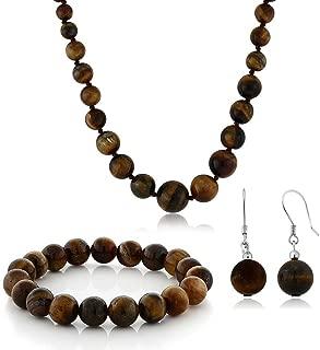 Gem Stone King 10mm Tiger Eye Brown Color Cross Cut Bead Necklace Bracelet and Earrings Set